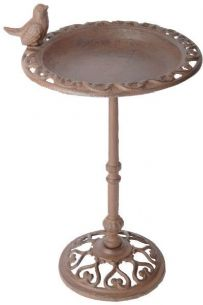 Freestanding Cast Iron Metal Garden Bird Bath w Bird On Pole